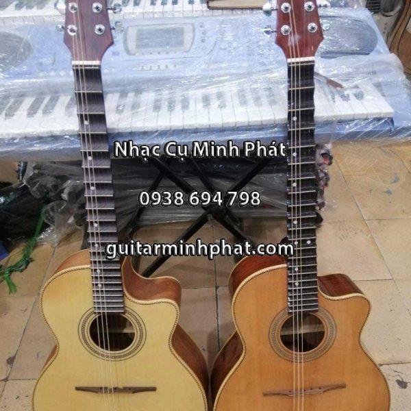 Đàn guitar thùng phím lõm gỗ hồng đào cao cấp - nhạc cụ Minh Phát